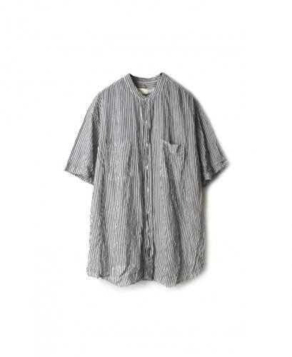 NVL2001HW HAND WOVEN COTTON BANDED COLLAR S/SL OVERSIZED SHIRT