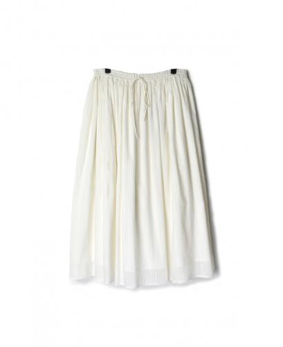 INMDS20134 HAND WOVEN COTTON SILK STRIPE RAJASTHAN TUCK GATHERED SKIRT