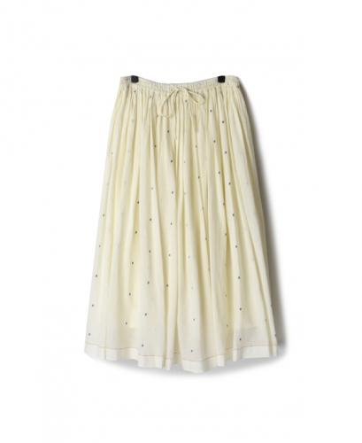 INMDS20126 COTTON JAMDANI DOT PATTERN RAJASTHAN TUCK GATHERED SKIRT