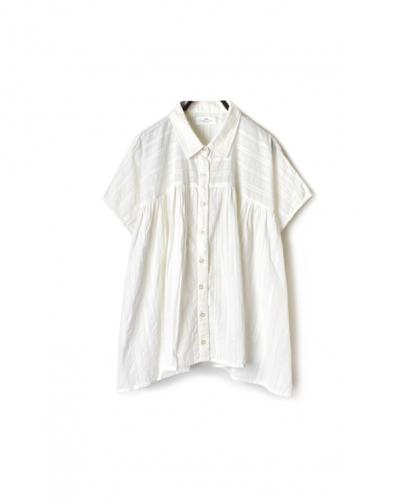 NSL20041 COTTON DOBIE STRIPE  GATHERED SHIRT