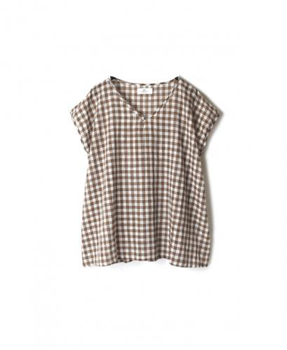 NSL20053 COTTON FANCY GINGHAM CHECK GATHERED FRENCH/SL V-NECK SHIRT