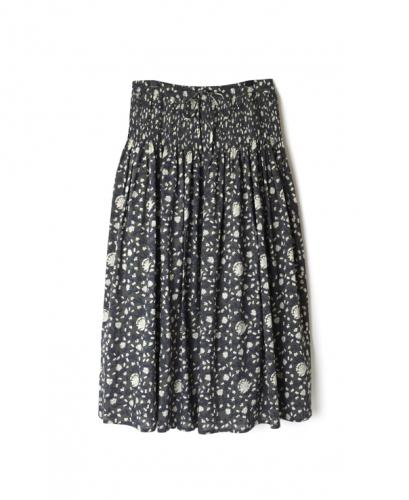 INMDS20154 80'S VOILE FLOWER BLOCK PRINT RANDOM PLEATS SKIRT