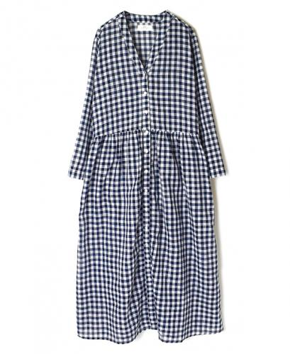 NSL20054 FANCY GINGHAM CHECK V-NECK GATHERED DRESS