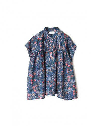 NSL20062 COTTON/SILK FLOWER PRINT BANDED COLLAR GATHERED SHIRT