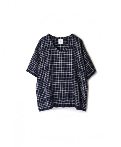 INMDS20111 100'S KHADI CHECK WITH SELVAGE V-NECK SHORT PULLOVER