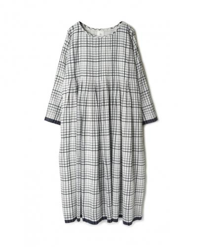 INMDS20112 100'S KHADI CHECK WITH SELVAGE INVERTED PLEAT TUNIC WITH LINING