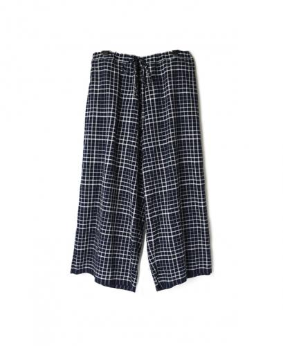 INMDS20115 100'S KHADI CHECK WITH SELVAGE EASY PANTS WITH LINING