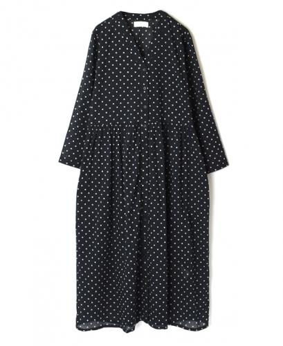 NSL20024 VOILE DOT V-NECK GATHERED DRESS