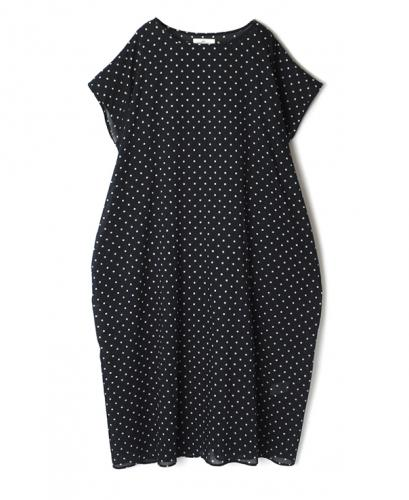 NSL20023 VOILE DOT FRENCH SLEEVE DRESS