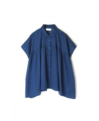 NSL20021 VOILE DOT GATHERED SHIRT