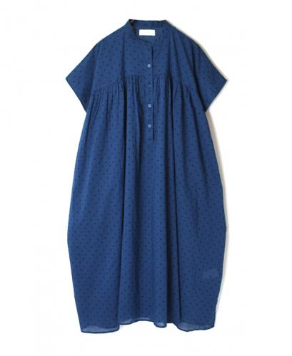 NSL20022 VOILE DOT BANDED COLLAR DRESS
