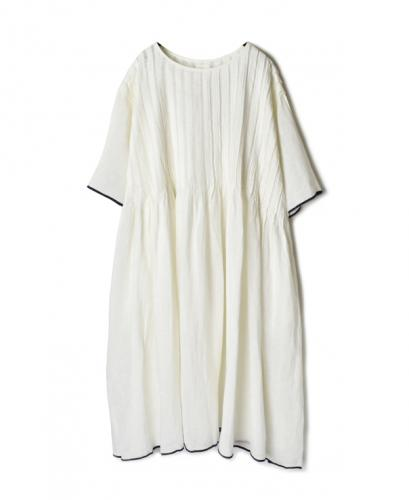 INMDS20173 80'S HAND WOVEN LINEN PLAIN WITH SELVAGE RANDOM PLEATS HALF/SL DRESS