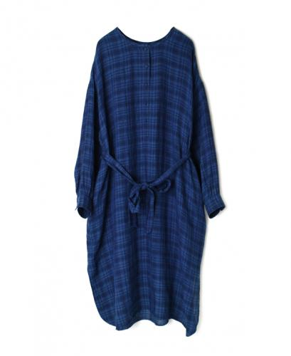 INMDS20203 80'S HAND WOVEN YARN DYED NATURAL INDIGO LINEN CHECK LONG HENLEY SHIRT DRESS