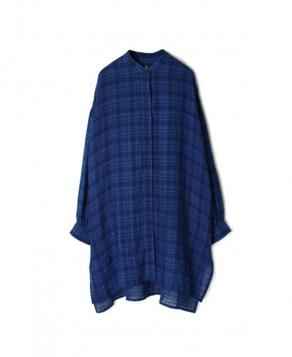 INMDS20204 80'S HAND WOVEN YARN DYED NATURAL INDIGO LINEN CHECK BANDED COLLAR BACK PINTUCK MAXI SHIRT