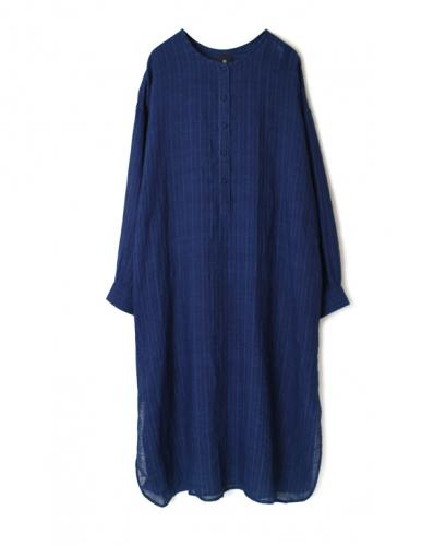 INMDS20193 80'S HAND WOVEN YARN DYED NATURAL INDIGO LINEN STRIPE LONG PULLOVER SHIRT DRESS