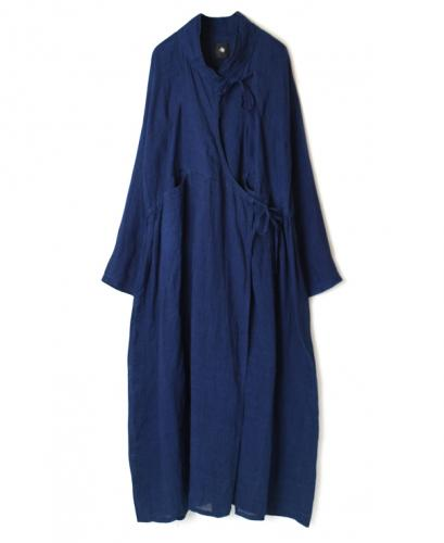 INMDS20182 80'S HAND WOVEN YARN DYED NATURAL INDIGO LINEN PLAIN CACHE-COEUR DRESS WITH HAND STITCH