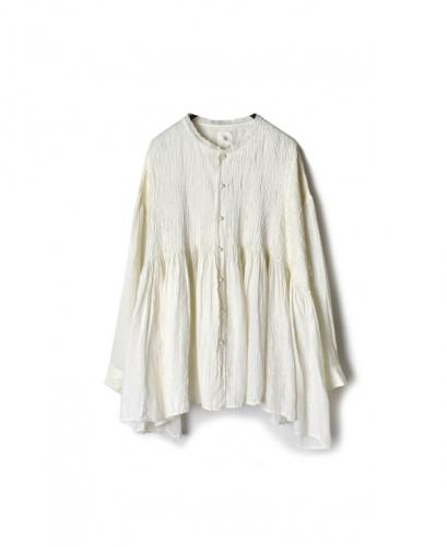 NMDS20014 80'S POWER LOOM LINEN PLAIN LACE COLLAR SHIRT WITH MINI PINTUCK