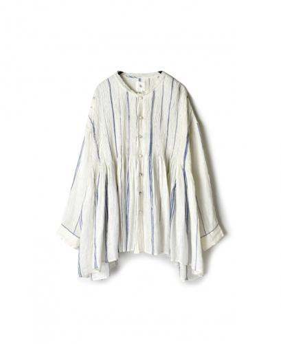 NMDS20034 80'S POWER LOOM LINEN RANDOM STRIPE LACE COLLAR SHIRT WITH MINI PINTUCK