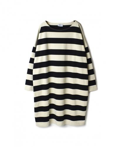 NLA1962 WIDE STRIPE L/SL BOAT-NECK OVERSIZED TUNIC WITH SLIT