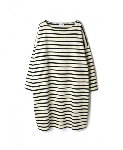 NLA1952 REGULAR STRIPE L/SL BOAT-NECK OVERSIZED TUNIC WITH SLIT