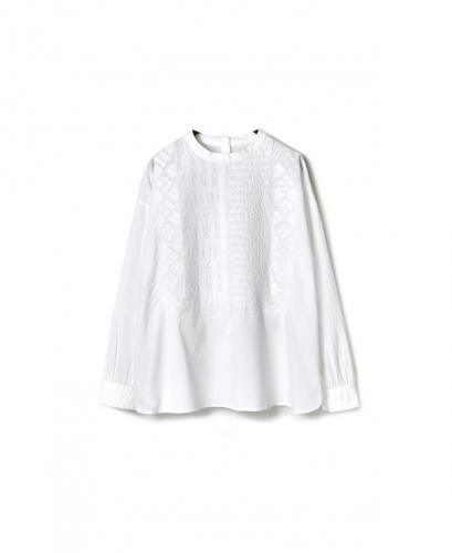 NMDS16551 60'S ORGANIC CAMBRIC BACK OPENING STAND COLLAR SHIRT