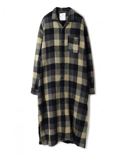 INHT2052WC COTTON WAFFLE BLOCK CHECK OVERDYE ONE-UP COLLAR LONG SHIRT