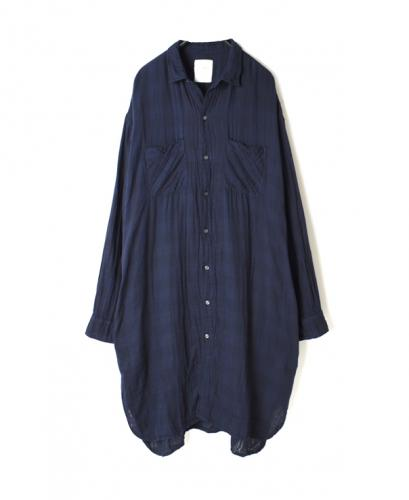 INAM2001DGD DOUBLE GAUZE OVER DYE UTILITY REGULAR COLLAR LONG SHIRT