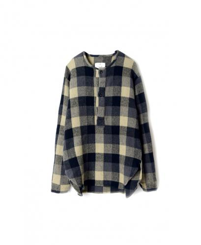 INHT1501WC COTTON WAFFLE BLOCK CHECK OVER DYE HENLY NECK SHIRT