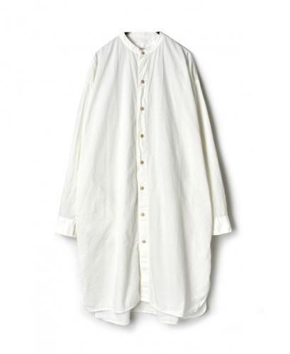 INAM1902PD 40'S POPLIN BANDED COLLAR LONG SHIRT