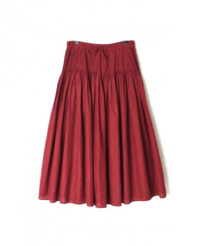 INMDS20764 80'S VOILE SMALL LEAF BLOCK PRINT MINI PINTUCK SKIRT