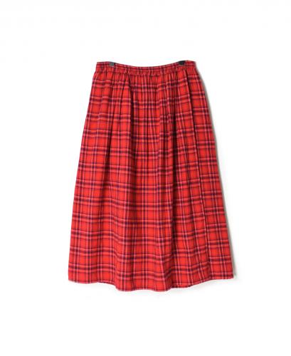 NSL20555 COTTON FLANNEL YARN DYED CHECK GATHERED WRAP SKIRT