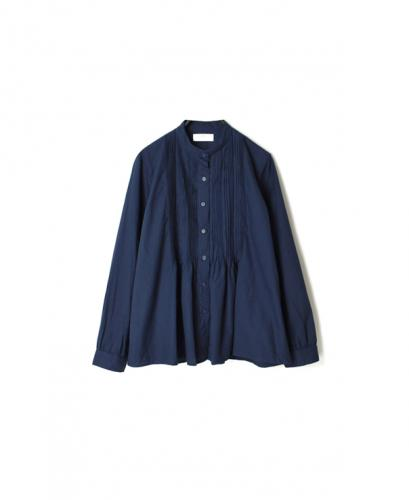 NSL20581 60'S COTTON TWILL BANDED COLLAR PINTUCK SHIRT