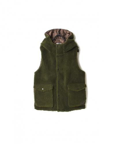 NAM2431Y FLEECE FRONT ZIP&SNAP HOODED VEST
