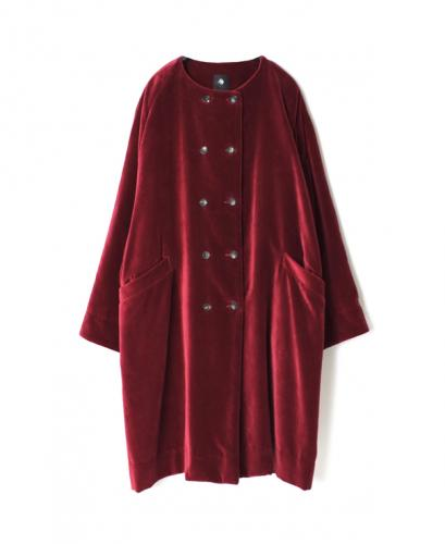 INMDS20752 COTTON VELOUR NO COLLAR DOUBLE COAT