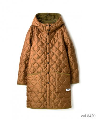 NAM1753  PLAIN HEAT QUILT  REVERSIBLE  HOODED COAT