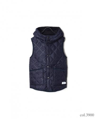 NAM1751 PLAIN HEAT QUILT REVERSIBLE HIGH COLLAR HOODED VEST