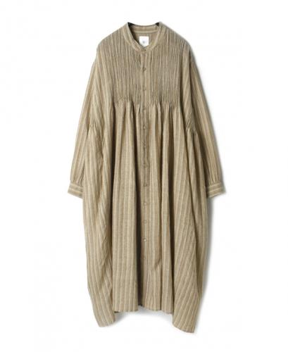 NMDS20574 BOILED WOOL HERRINGBONE STRIPE MINI PINTUCK BANDED SHIRT DRESS
