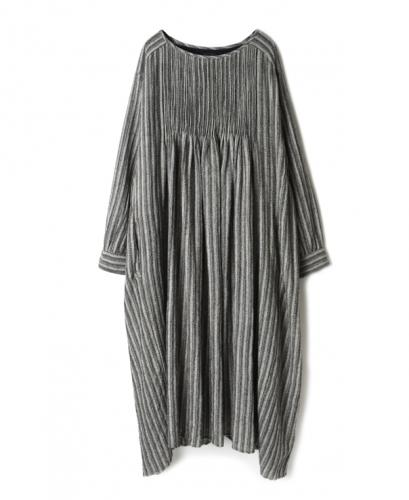 NMDS20573 BOILED WOOL HERRINGBONE STRIPE MINI PINTUCK CREW-NECK L/SL DRESS WITH LINING