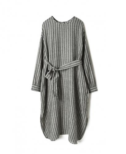NMDS20572 BOILED WOOL HERRINGBONE STRIPE BACK OPENING CREW-NECK SHIRT DRESS