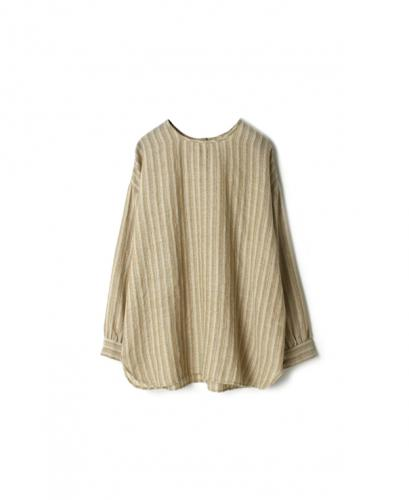 NMDS20571 BOILED WOOL HERRINGBONE STRIPE BACK OPENING CREW-NECK SHIRT
