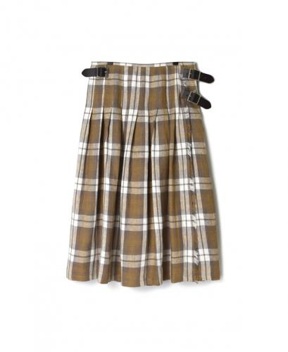 NOD0901 IRISH LINEN LOW WAIST PLEATS WRAP SKIRT