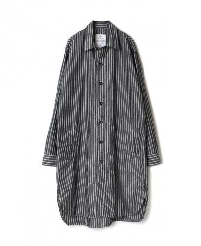LNHT1401LS COTTON LINEN STRIPE OVERDYE WORK BUTTON LONG SHIRT
