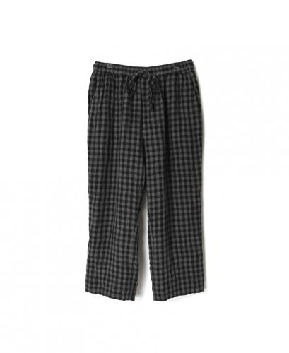 IMDSH2101LCD 80'S POWER LOOM LINEN CHECK EASY CROPPED PANTS