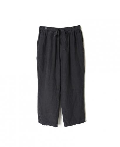 IMDSH2101L 80'S HAND WOVEN LINEN PLAIN EASY CROPPED PANTS