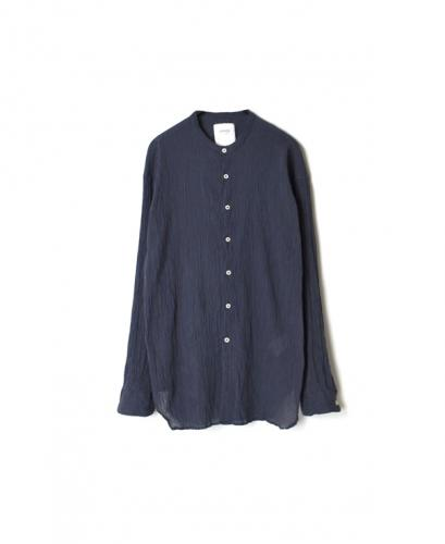 INAM1702GS GAUZE STRIPE DYE UTILITY BANDED COLLAR SHIRTS