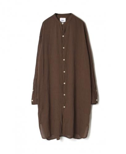 INAM1902GS GAUZE STRIPE DYE UTILITY BANDED COLLAR LONG SHIRTS