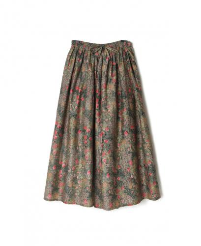NSL21055 COTTON SILK FLOWER PRINT GATHERED SKIRT