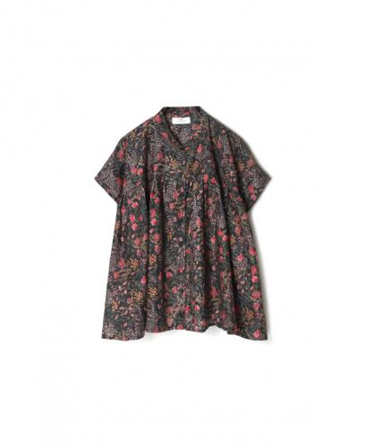 NSL21052 COTTON SILK FLOWER PRINT BANDED COLLAR GATHERED SHIRTS