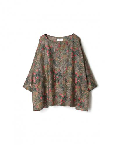 NSL21051 COTTON SILK FLOWER PRINT BANDED COLLAR GATHERED SMOCK