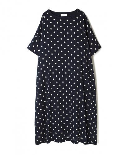 NSL21023 COTTON VOILE DOT PRINT GATHERED DRESS WITH LINING